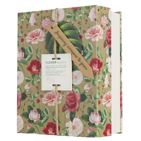 Trellis - RHS Flower Blooms Scented Hand Wash & Lotion Gift Set Heathcote & Ivory